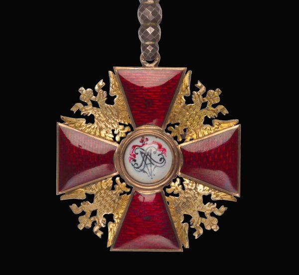обратная сторона Знака ордена Святого Александра Невского «алмазной огранки»